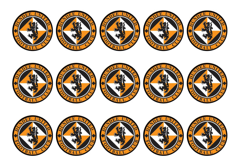 Printed cupcake toppers featuring the Dundee United Badge