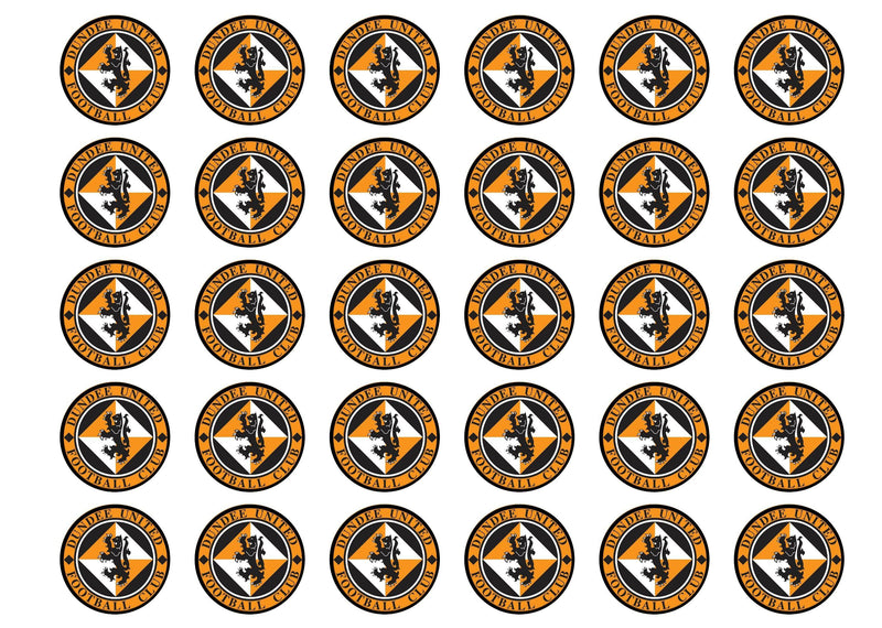 Edible cupcake toppers featuring the Dundee United Badge