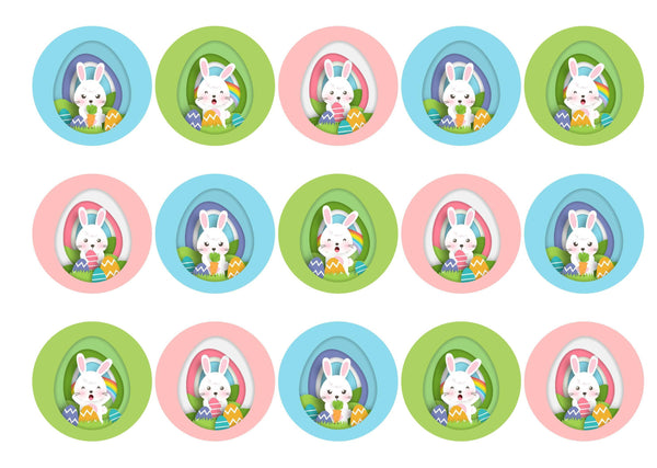 15 printed cupcake toppers with brightly coloured Easter bunnies