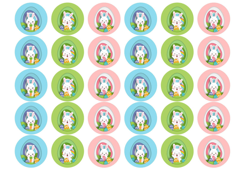30 edible cupcake toppers with brightly coloured Easter bunnies