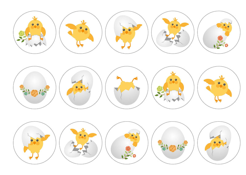 15 cupcake toppers with easter chick designs
