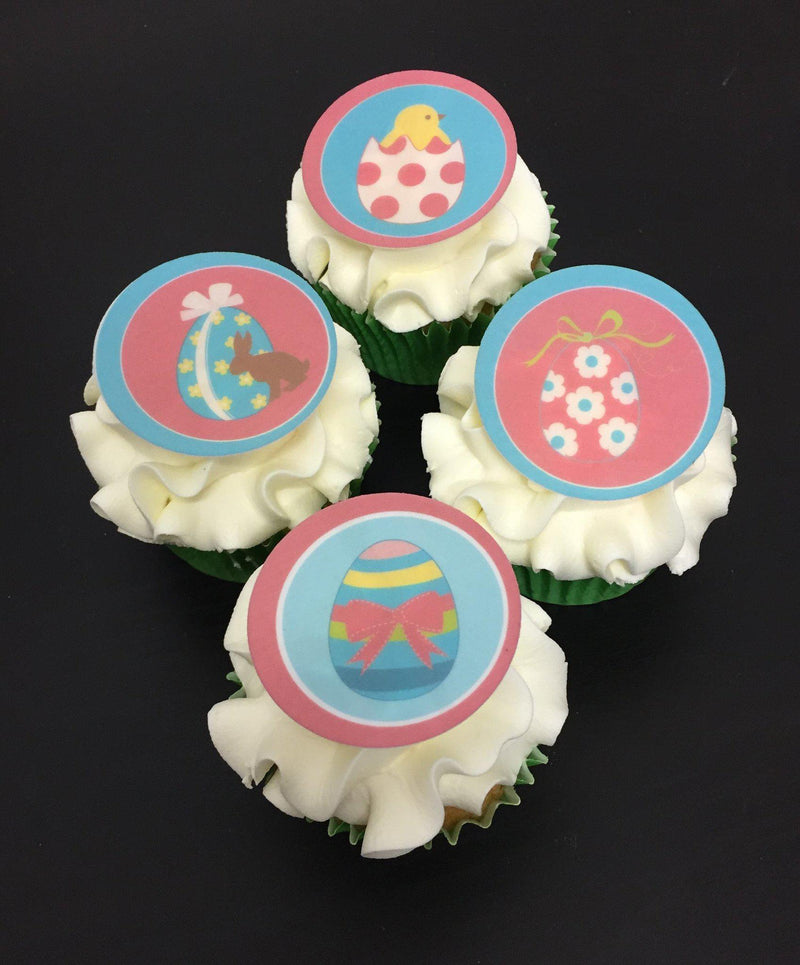 Printed cupcake toppers with pink and aqua Easter Egg designs