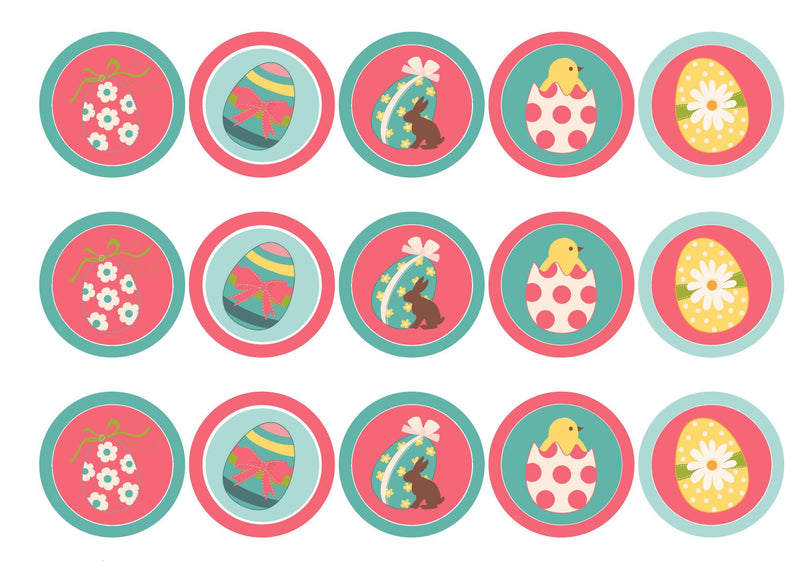 Edible cupcake toppers with pink and aqua Easter Egg designs