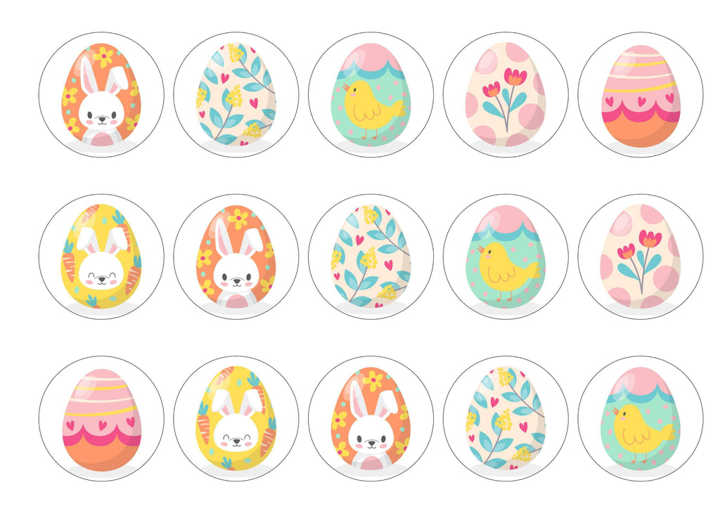 15 cupcake toppers with easter egg designs