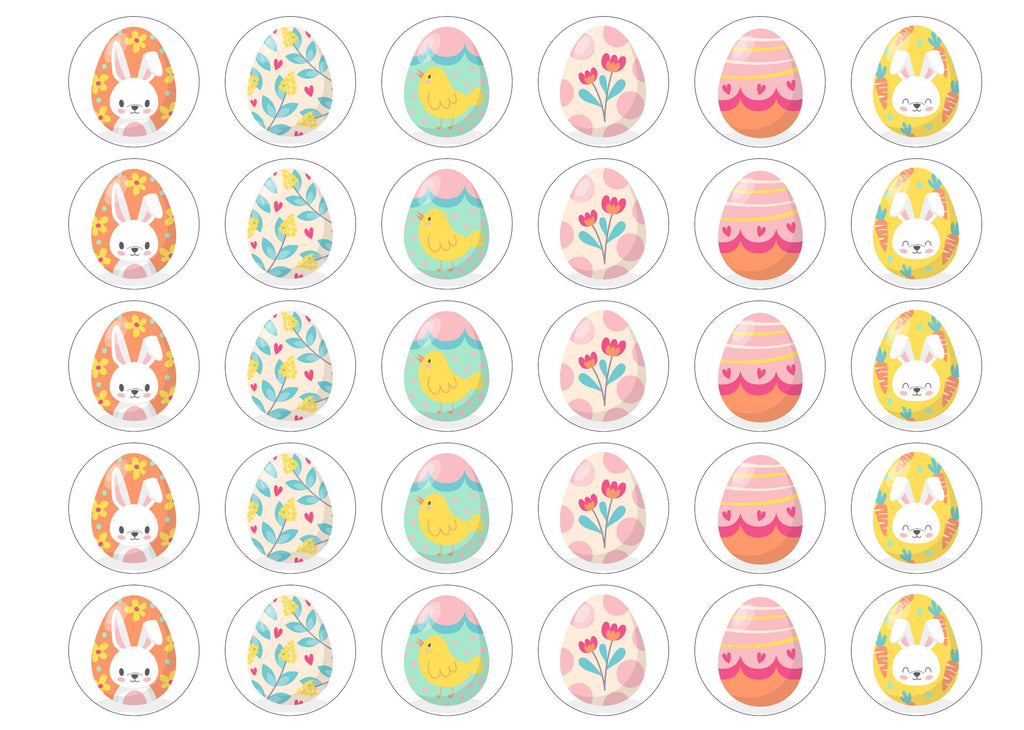30 edible toppers with easter egg patterns
