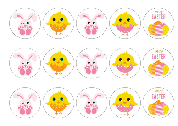 Printed Easter cupcake toppers with cute chicks and bunnies