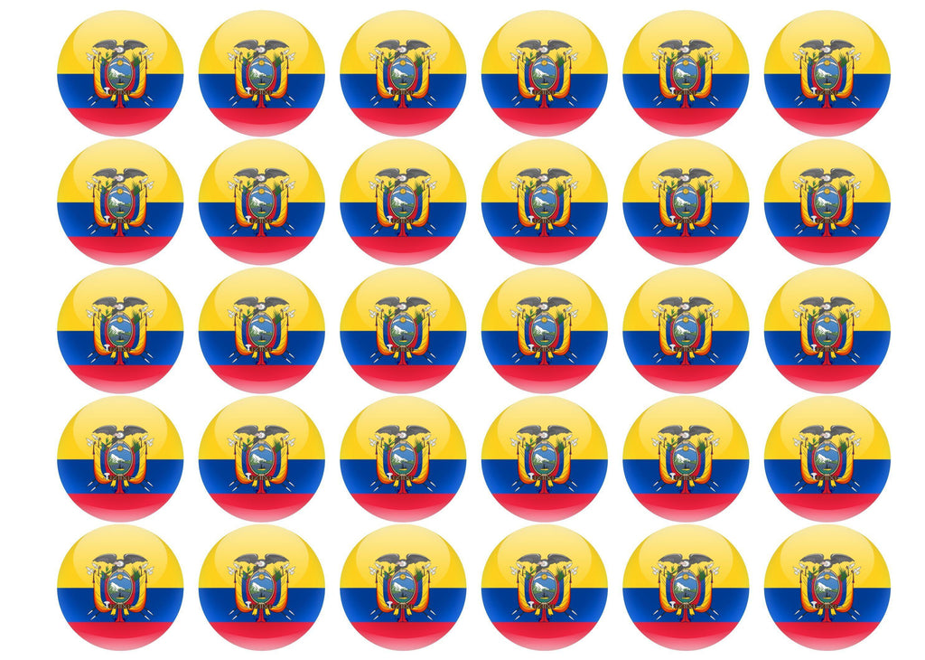 38mm printed edible cupcake toppers - Ecuador