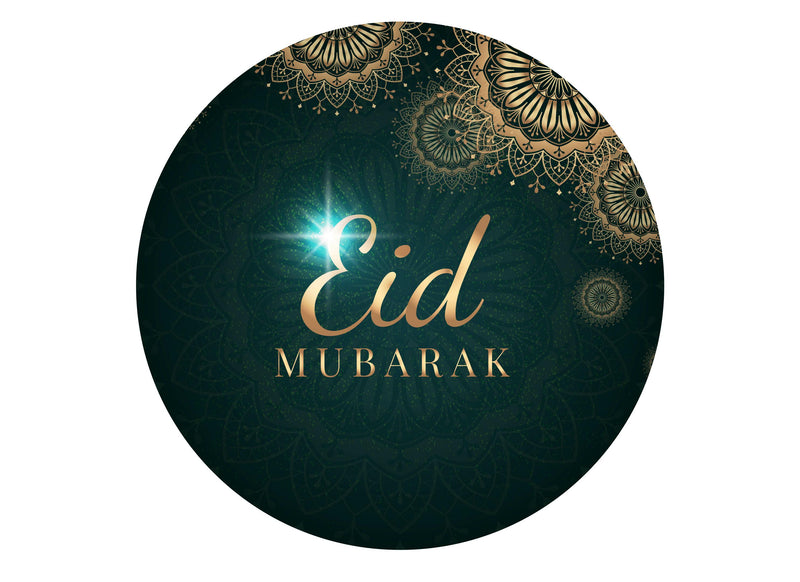 Large round cake topper with a green Eid Mubarak design
