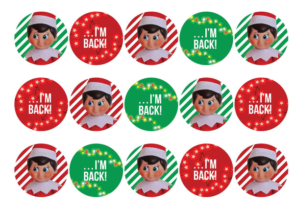 Elf on the Shelf... I'm Back!-Edible cake toppers-Edibilis