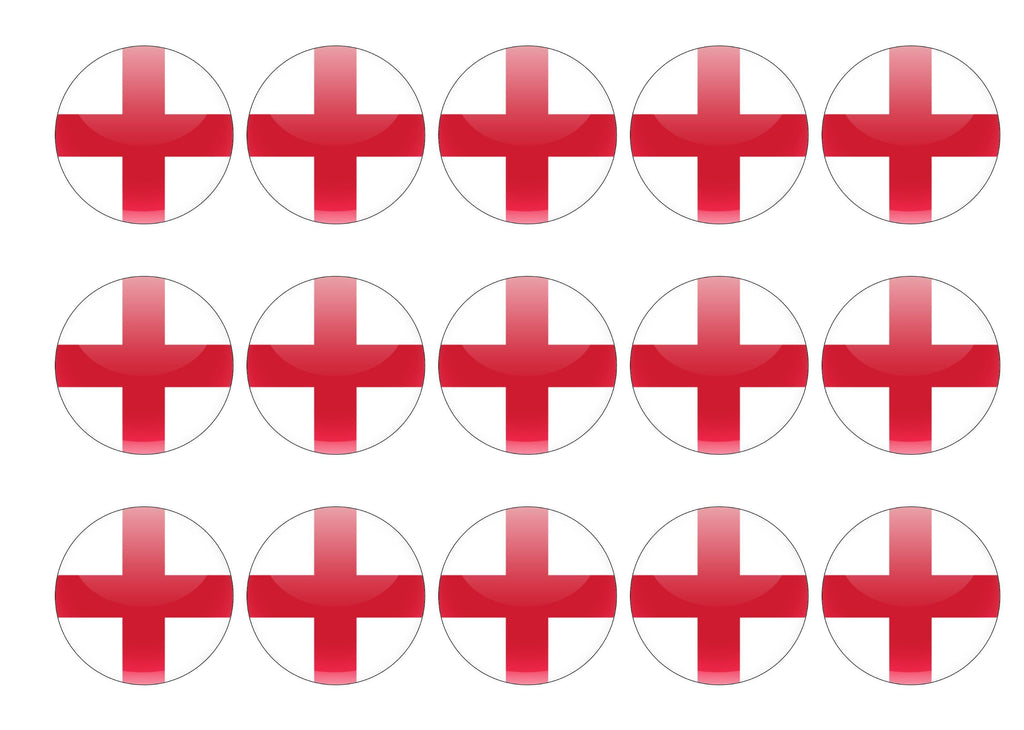 50mm printed edible cupcake toppers - England