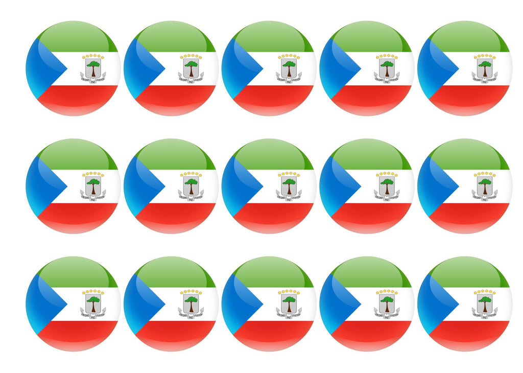 50mm printed edible cupcake toppers - Equatorial Guinea