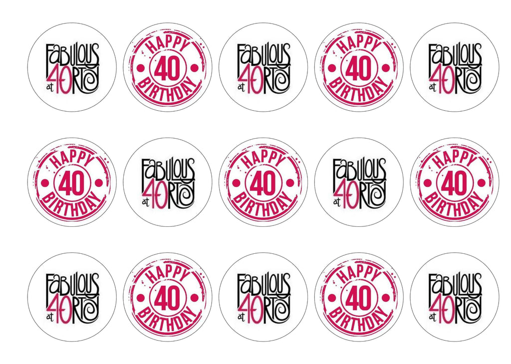 Fabulous at 40 edible printed cupcake toppers