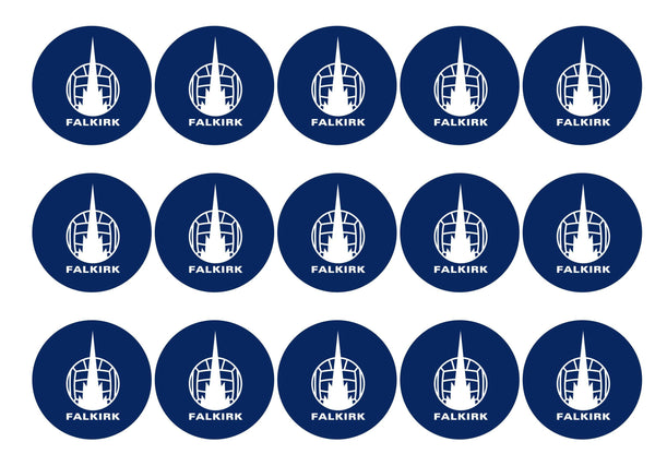 15 printed cupcake toppers with the Falkirk badge