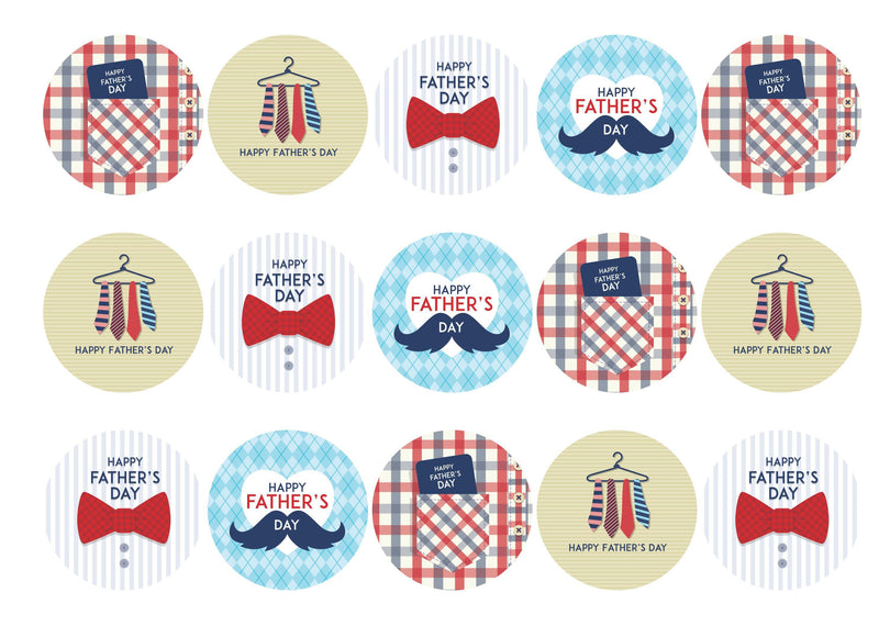 15 cupcake toppers with Father's Day plaid designs