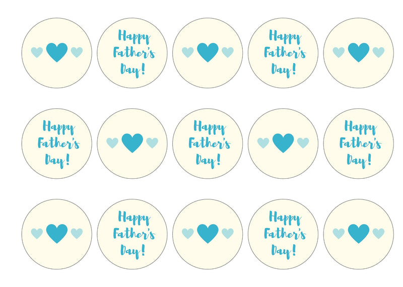 Father's Day Hearts-Edible cake toppers-Edibilis
