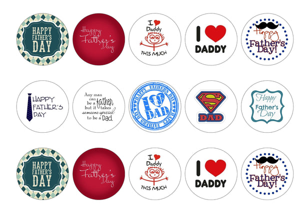 Printed edible cupcake toppers for Father's Day