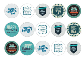 Edible printed cupcake toppers for Father's Day in shades of blue