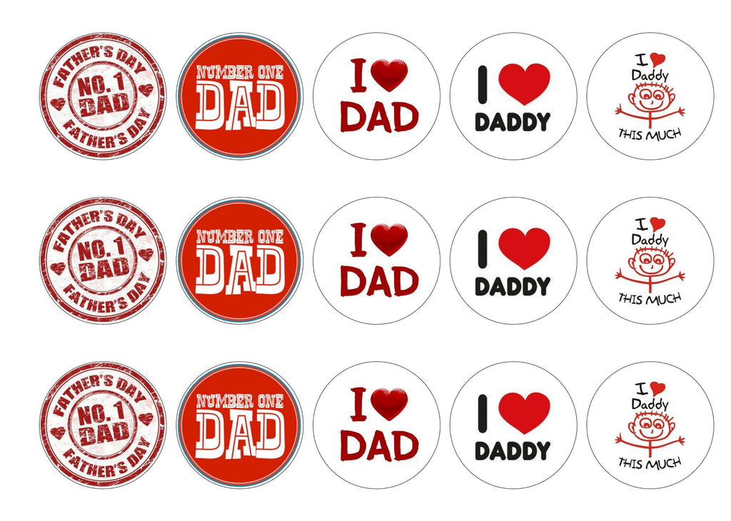 Edible printed cupcake toppers for Father's Day in shades of red