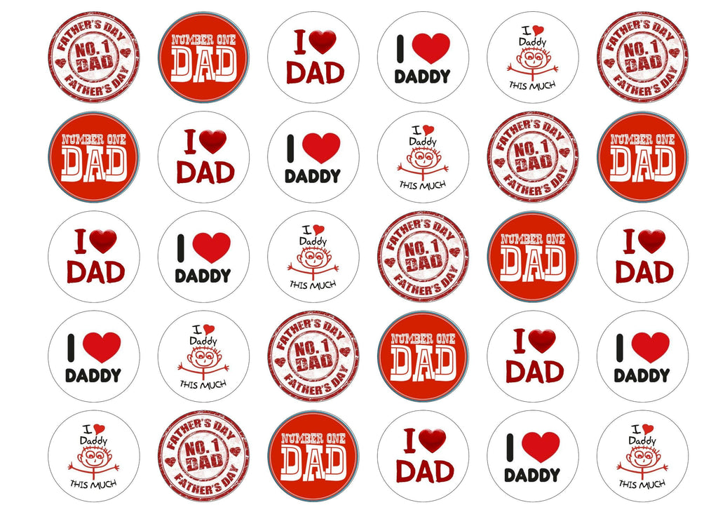 Printed edible cupcake toppers for Fathers Day