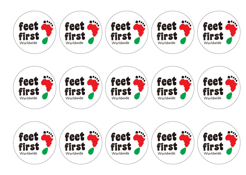 Printed edible charity cupcake and cake toppers for Feet First Worldwide