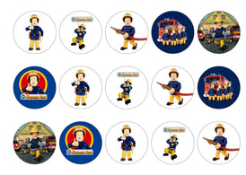 Printed edible cupcake toppers with Fireman Sam