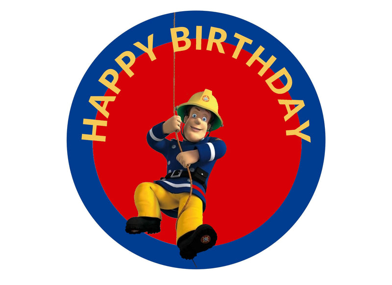 Printed edible birthday cake topper with Fireman Sam