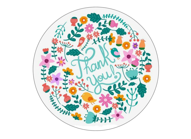 "Printed edible 7.5"" cake topper - Floral thank you"