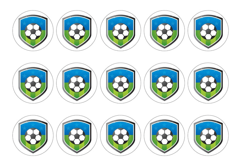 15 printed cupcake toppers with a football badge of your choice