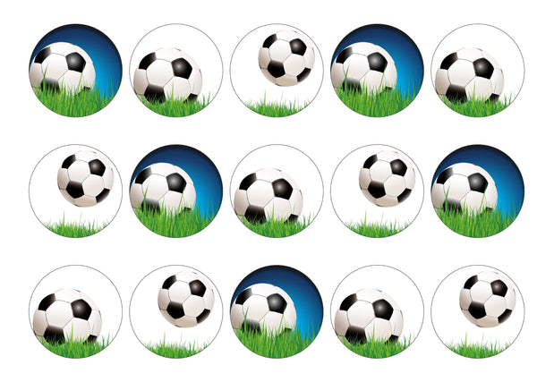 15 printed cupcake toppers with football images