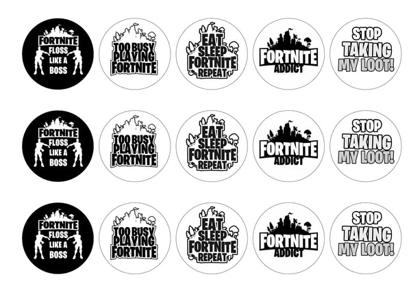 15 printed toppers with slogans and quotes from Fortnite