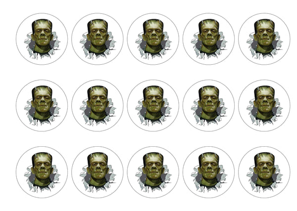 Printed edible cupcake toppers with Frankenstein