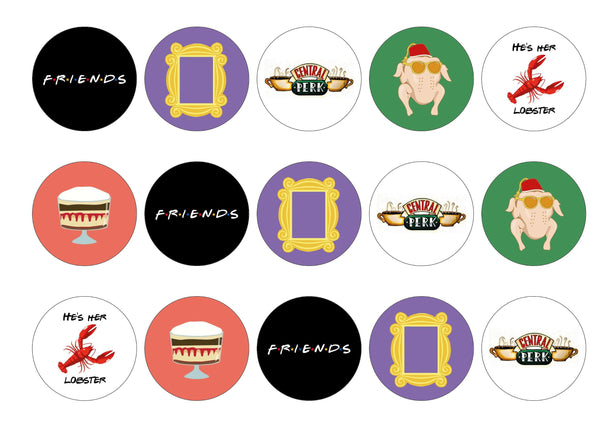 15 printed toppers with images from the TV show Friends.