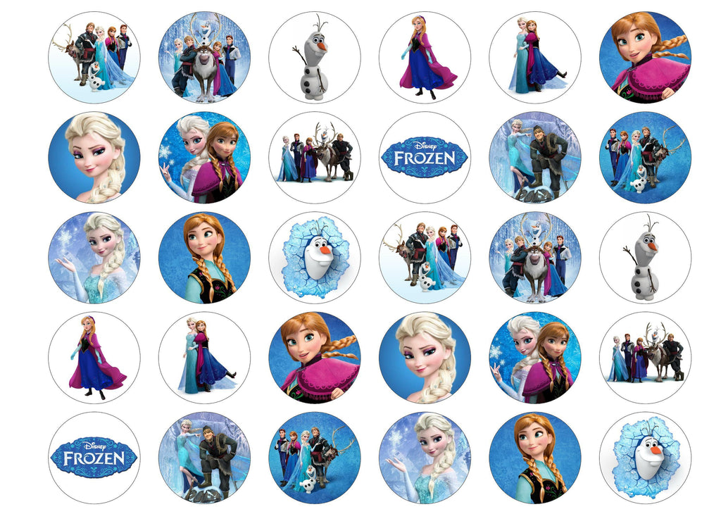 Cake toppers and cupcake toppers with images from the Disney film Frozen