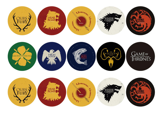 Printed edible cupcake toppers with Game of Thrones (GOT) images