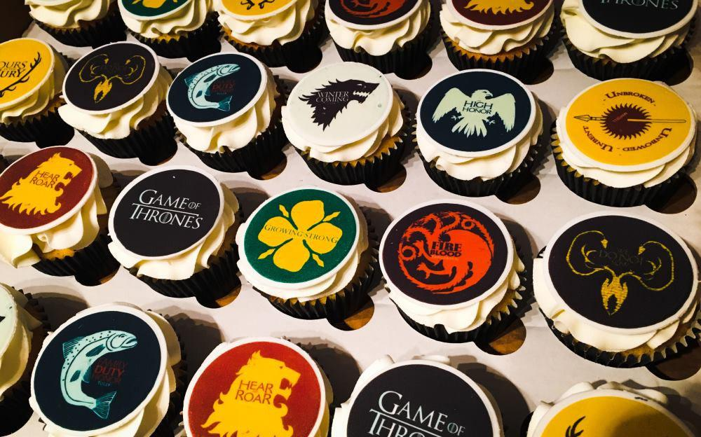 Edible cupcake toppers featuring images for the TV programme Game of Thrones