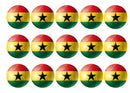 15 printed cupcake toppers with the flag of Ghana