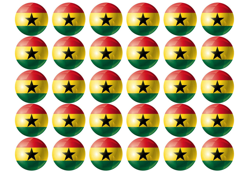 30 Edible cupcake toppers with the flag of Ghana