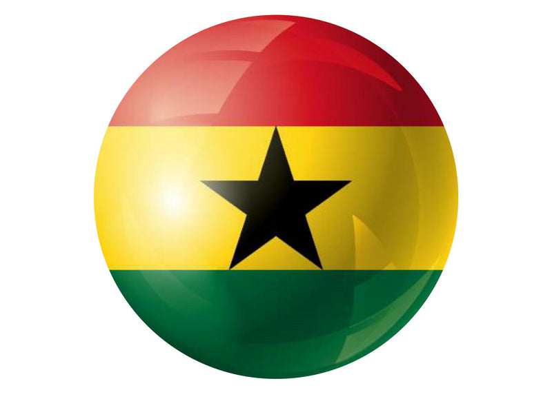 Large round cake topper with the flag of Ghana