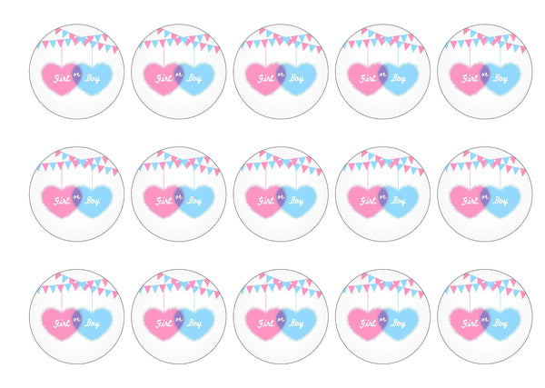 Printed cupcake toppers for girl /boy baby shower