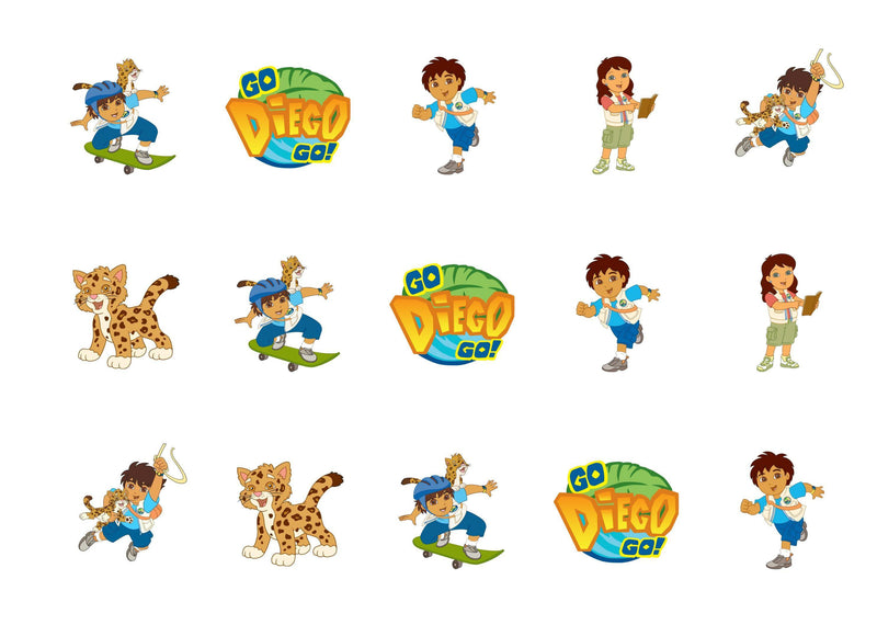 Printed edible cupcake toppers with Go Diego Go