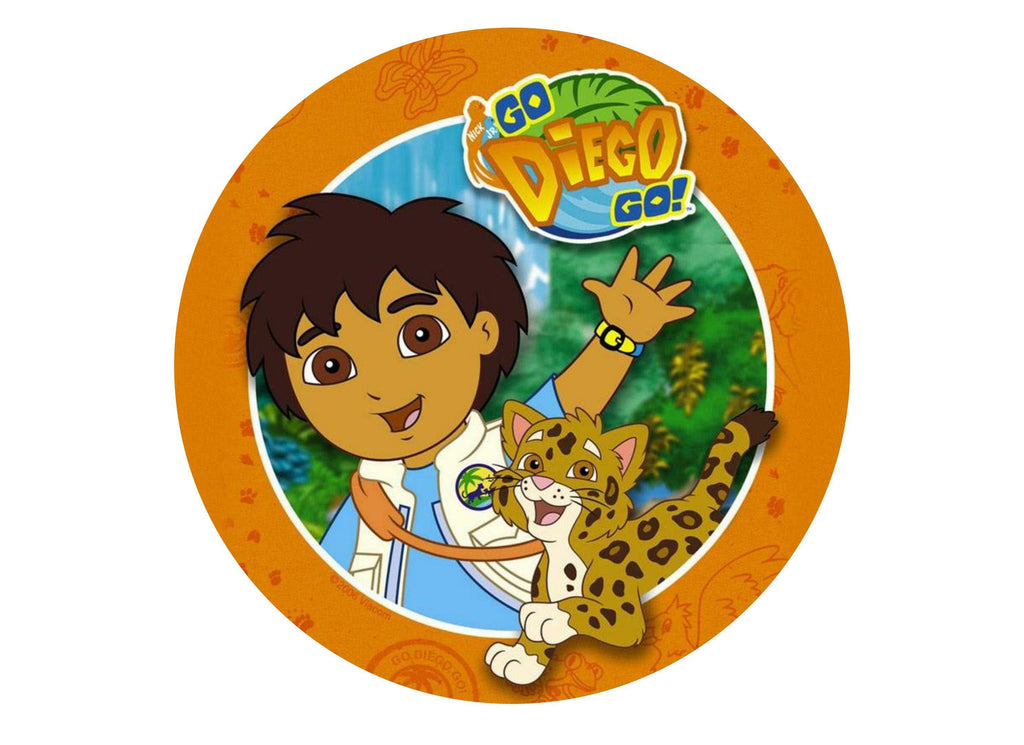 Printed edible cake topper with Go Diego Go