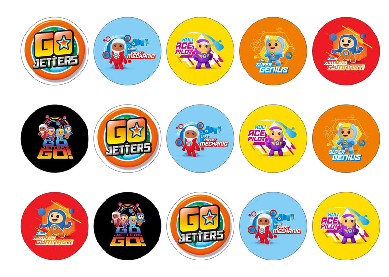 Printed edible cupcake toppers with Go Jetters