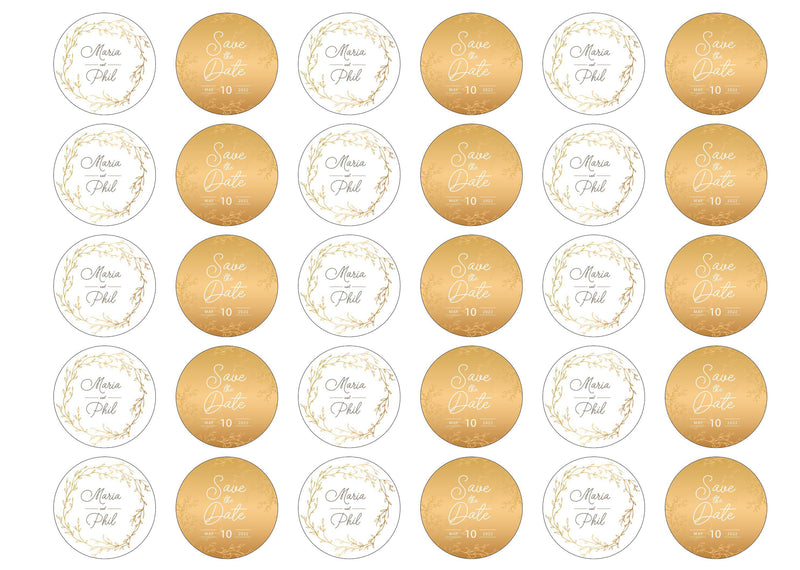 30 edible toppers with gold wedding save the date design