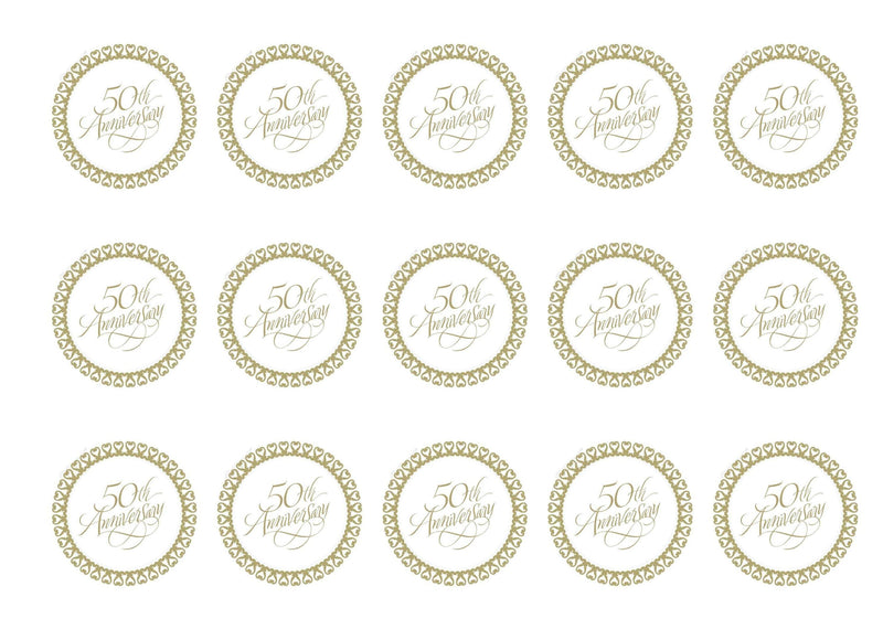 Printed cupcake toppers for Golden Anniversary