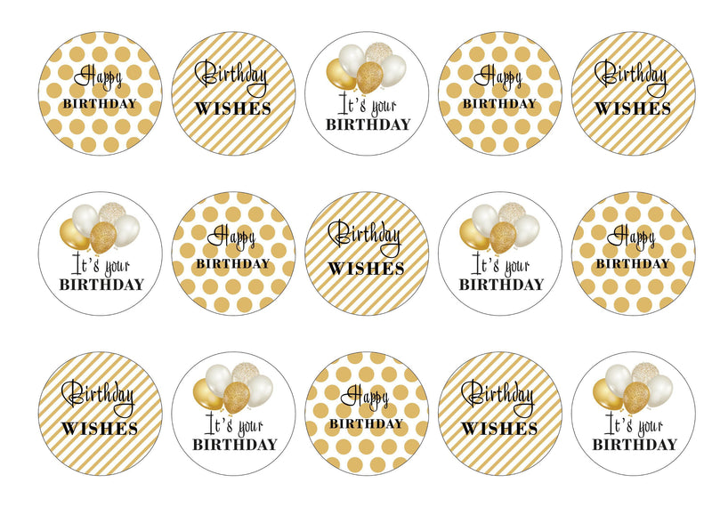 15 printed toppers with gold spots,gold stripes and gold balloons for a happy birthday