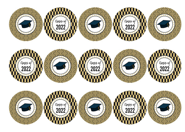 15 printed cupcake toppers with a gold and black graduation cap theme