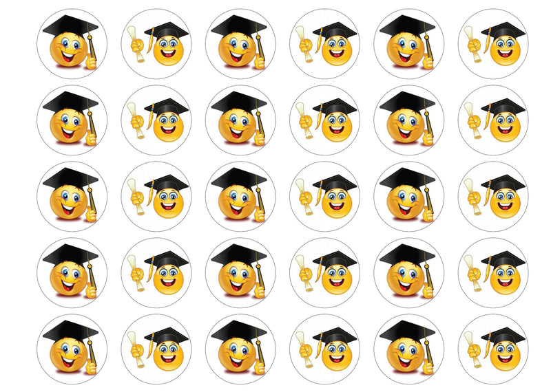 30 edible cupcake toppers with emoji images for graduation