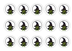 Printed edible cupcake toppers with Green Witch