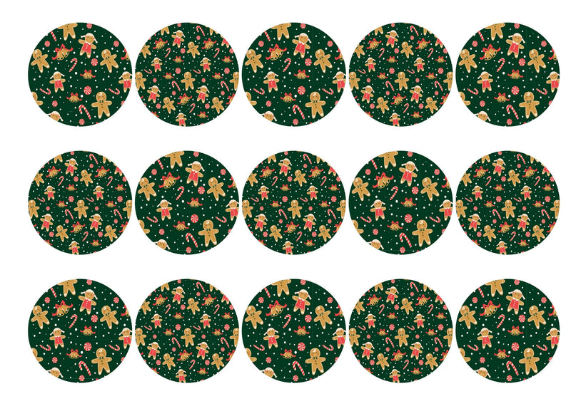15 printed toppers with a green gingerbread man Christmas design
