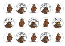 15 printed cupcake toppers of the Gruffalo